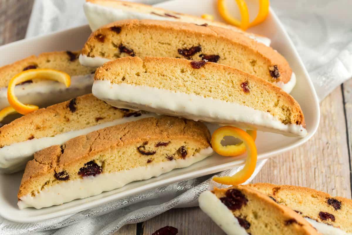 orange biscotti with zest peels