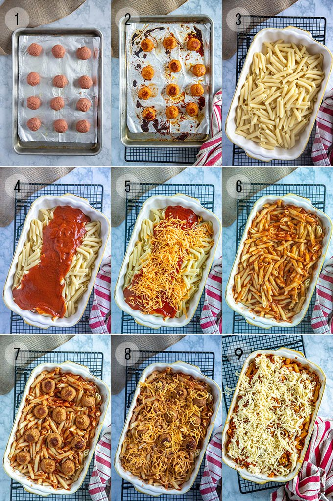 step by step instructions to make 4 ingredient meatball casserole