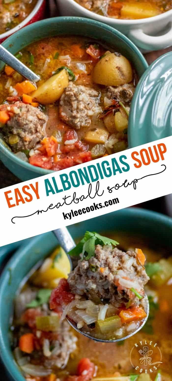 collage of albondigas in teal bowls with a spoon