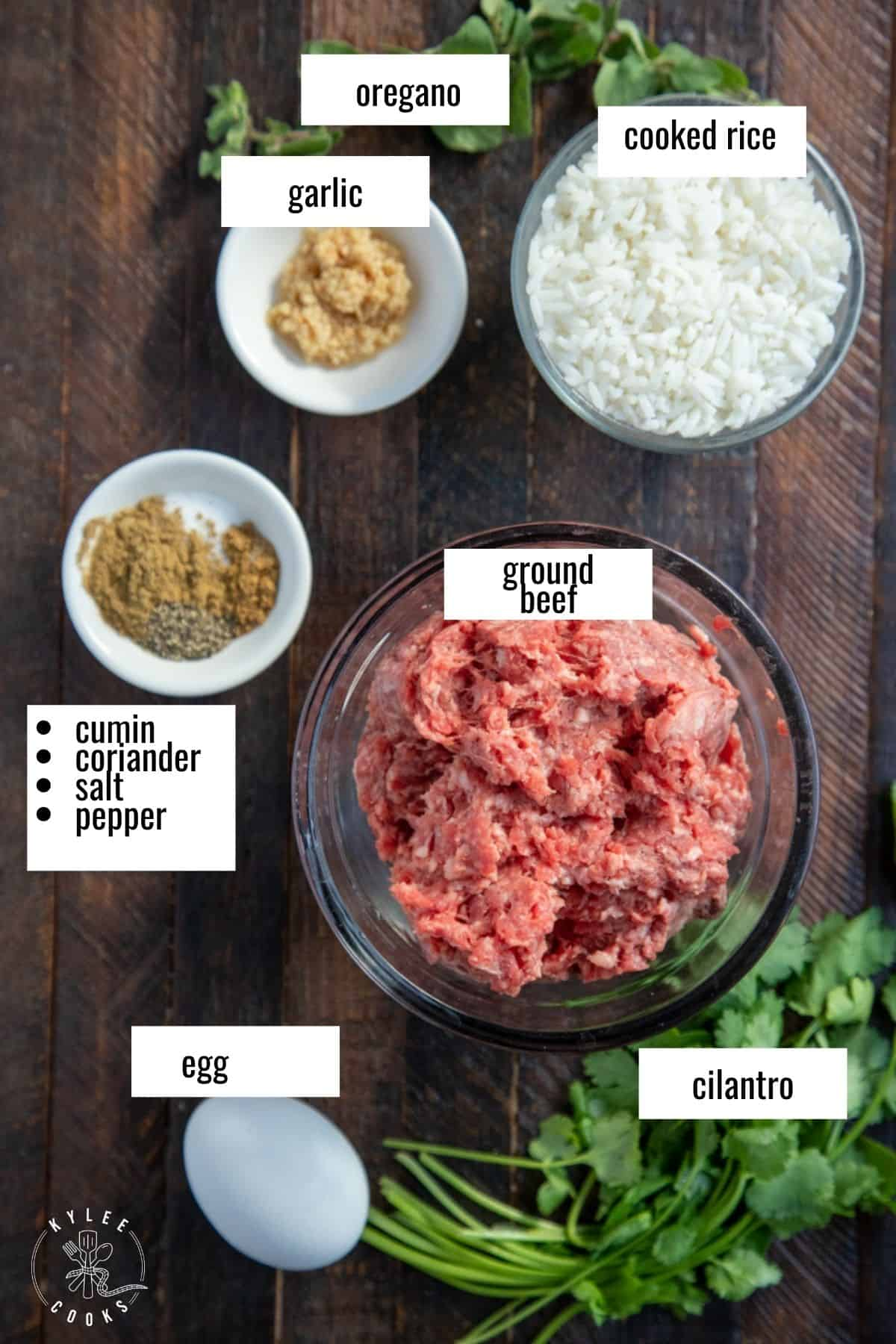 ingredients to make the meatballs for albondigas laid out and labeled