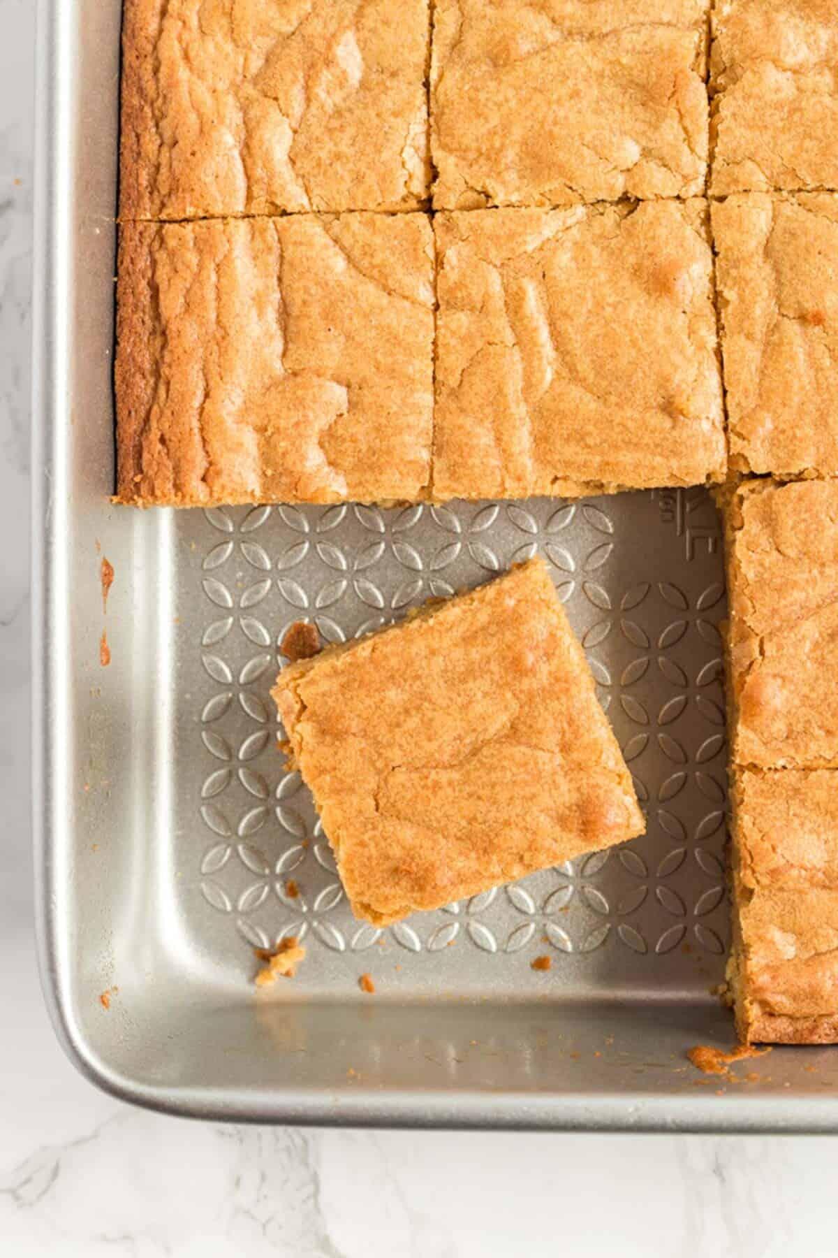 blondies in a pan