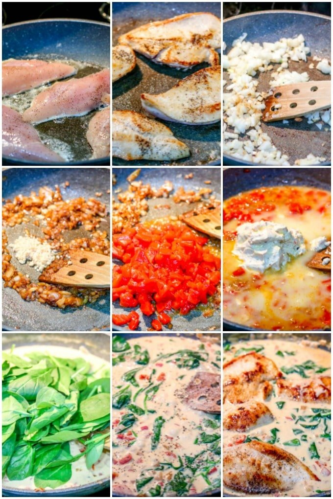 step by step instructions showing how to make skillet chicken