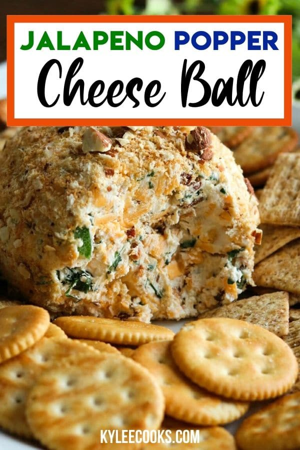 Jalapeno Popper Cheese Ball pin with text overlay