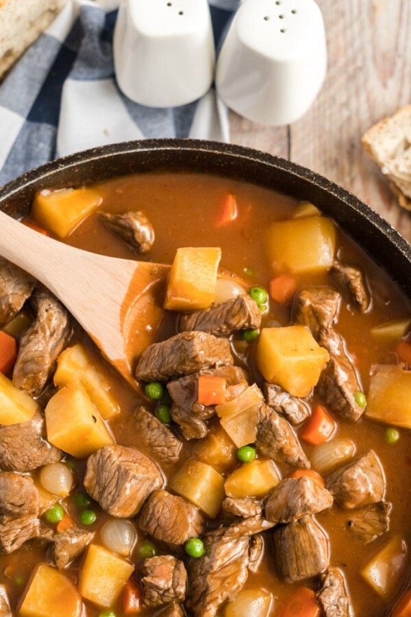 Guinness beef stew in a skillet