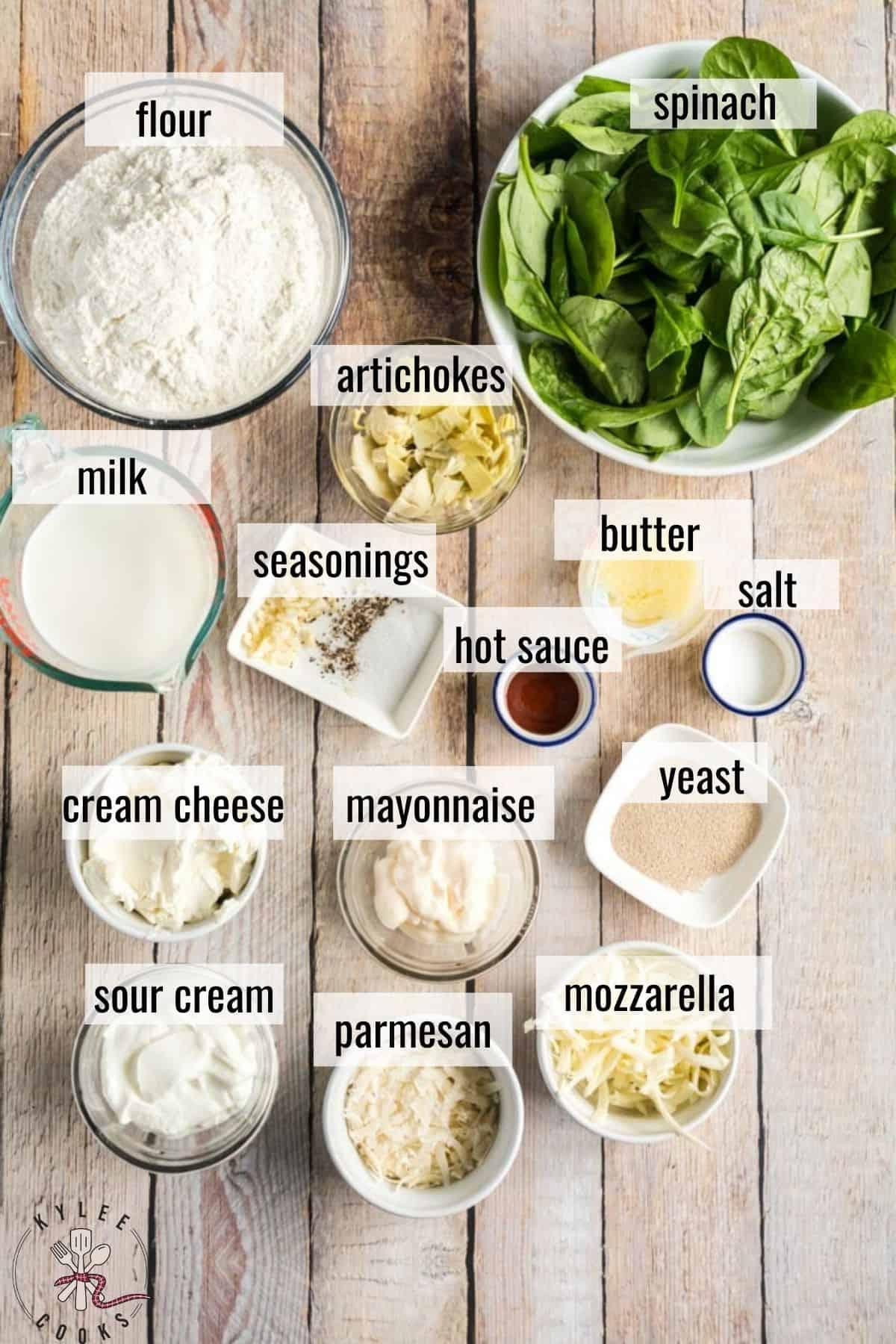 Hot Spinach Artichoke Dip ingredients