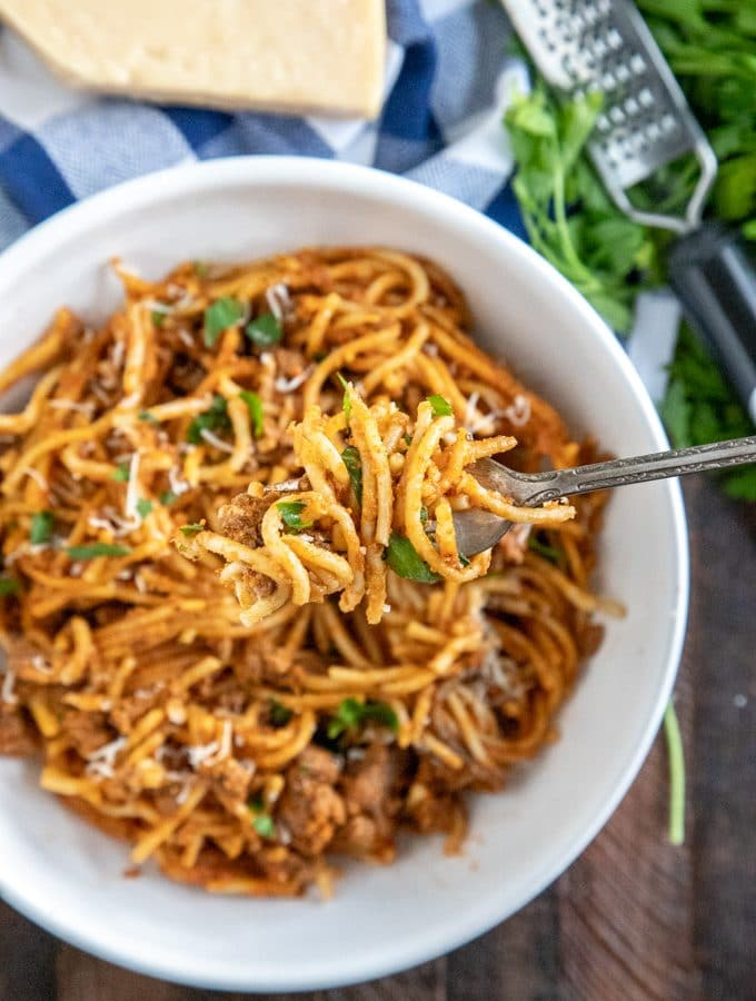 instant pot spaghetti twirled on a fork