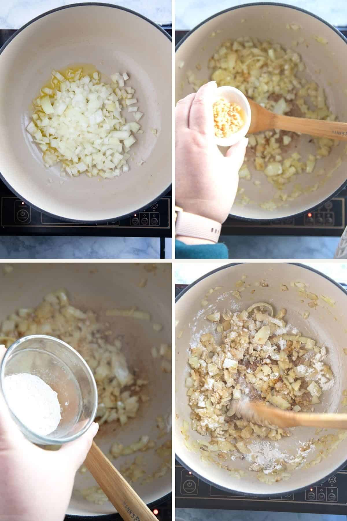 step by step photos showing how to make tomato soup