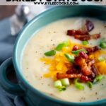 loaded baked potato soup pin with text overlay