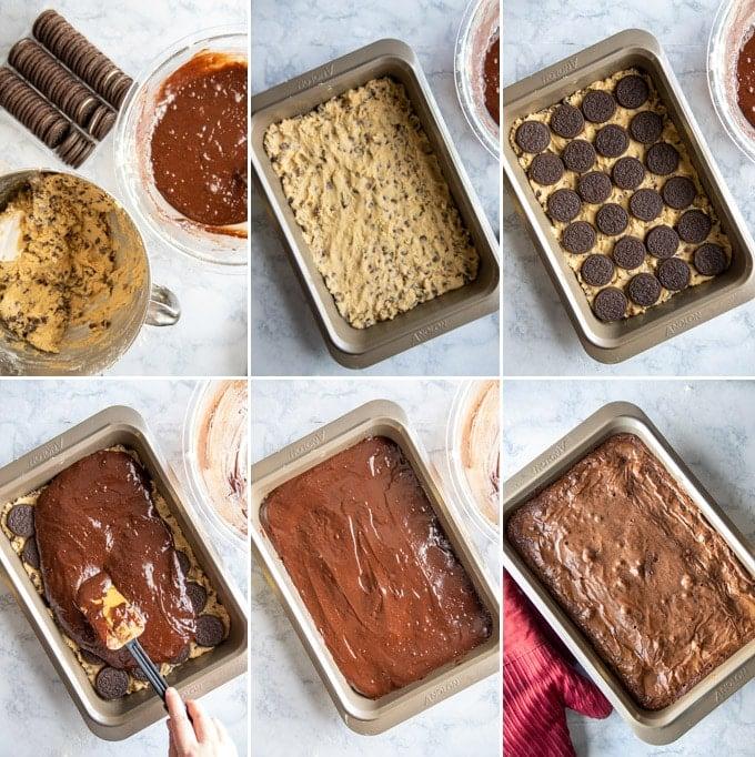 assembling slutty brownies