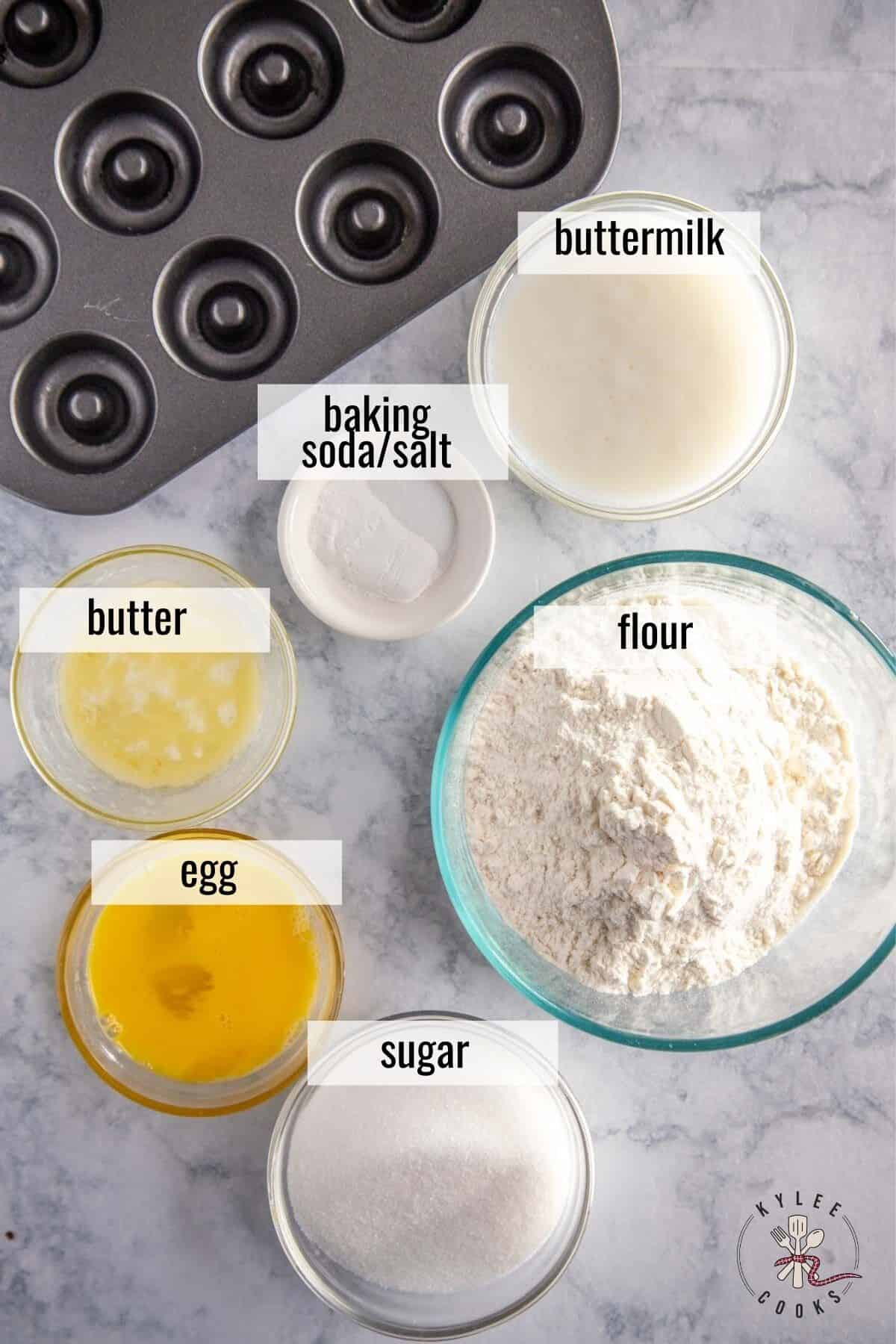 ingredients to make mini donuts