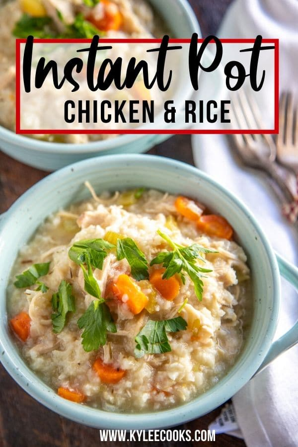 instant pot chicken and rice pin with text overalay