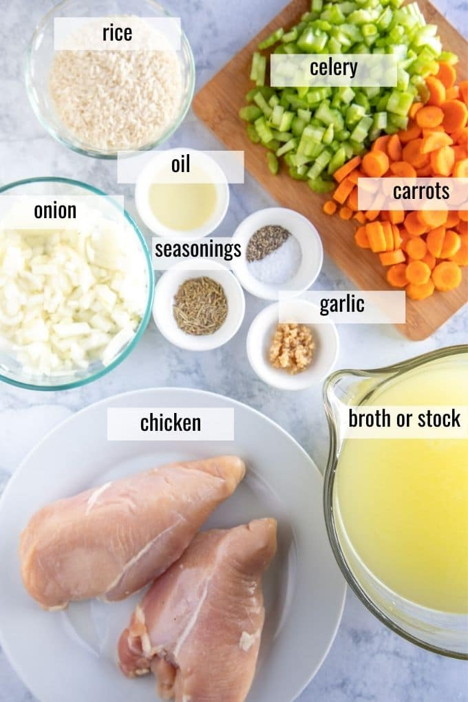 ingredients for chicken & rice