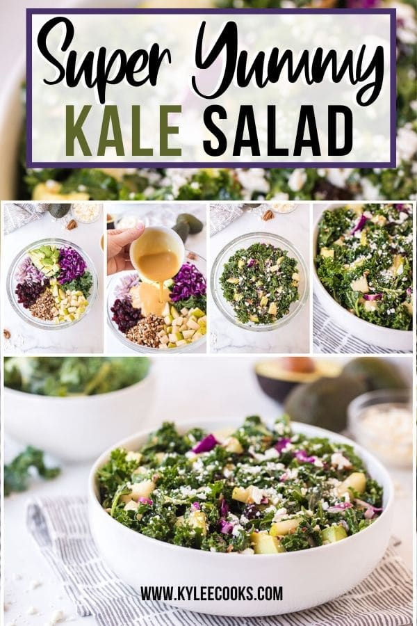 kale salad pin with text overlay