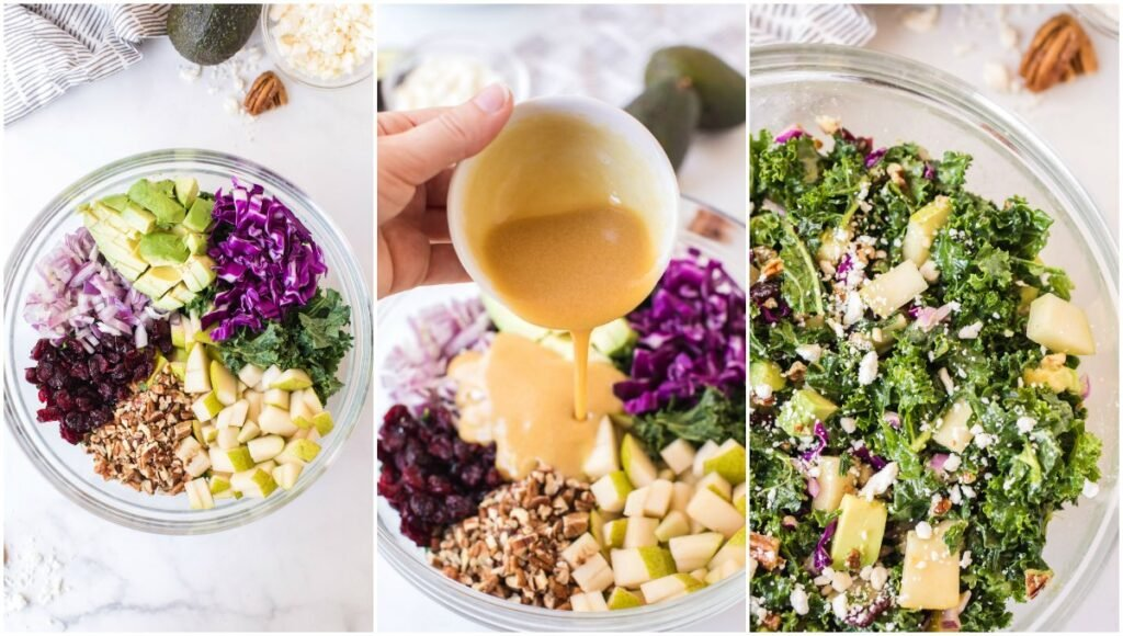 collage showing the process to make kale salad