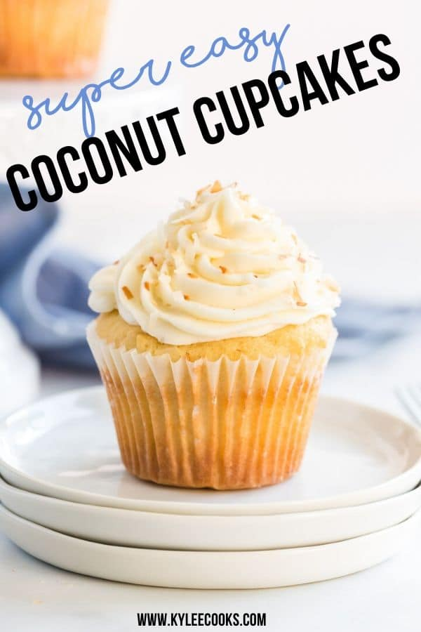 coconut cupcakes pin with text overlay