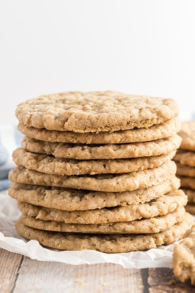 oatmeal cookies stacked on a plate