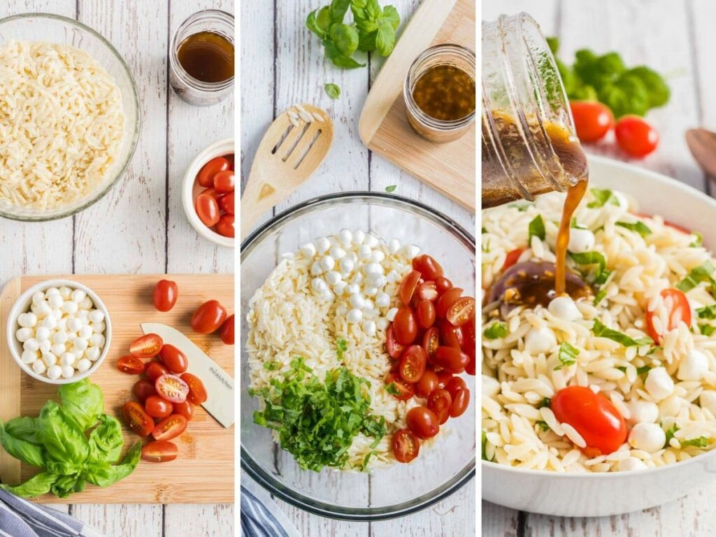 step by step photos showing how to assemble a caprese orzo salad