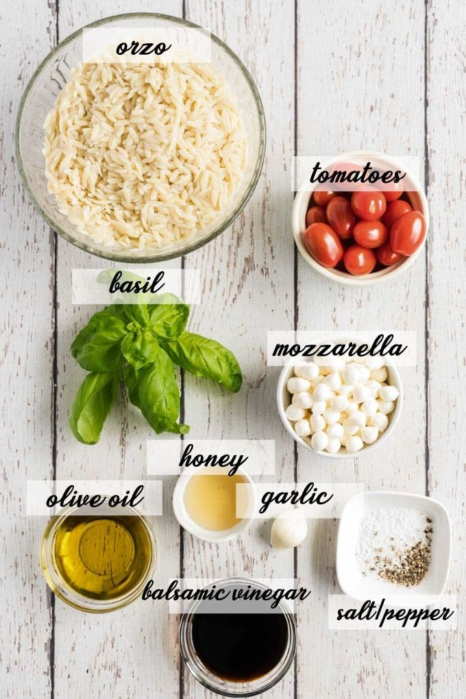 caprese orzo salad ingredients laid out and labeled