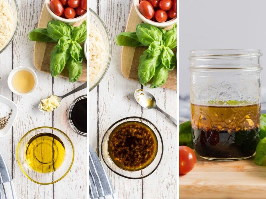 step by step photos showing how to make the dressing for caprese orzo salad