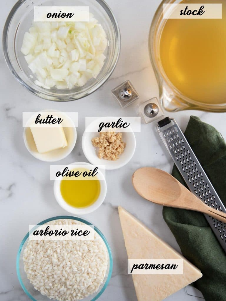 instant pot risotto ingredients laid out and labelled