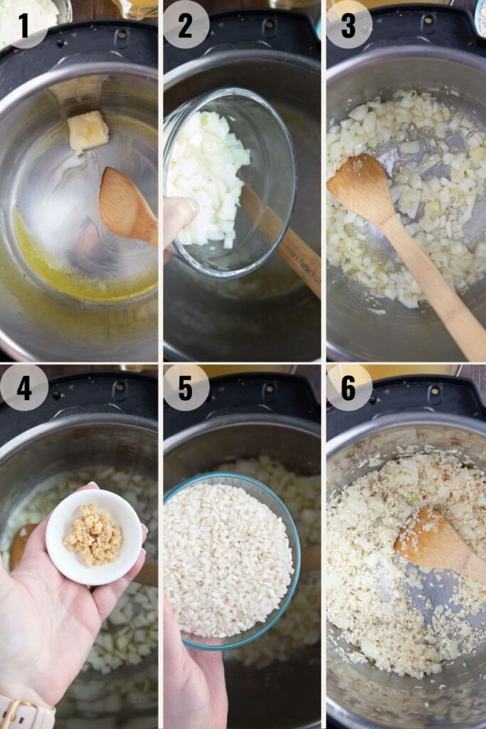 step by step instructions on how to make risotto in the instant pot