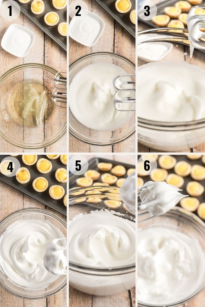 collage showing the process to make lemon meringue pies