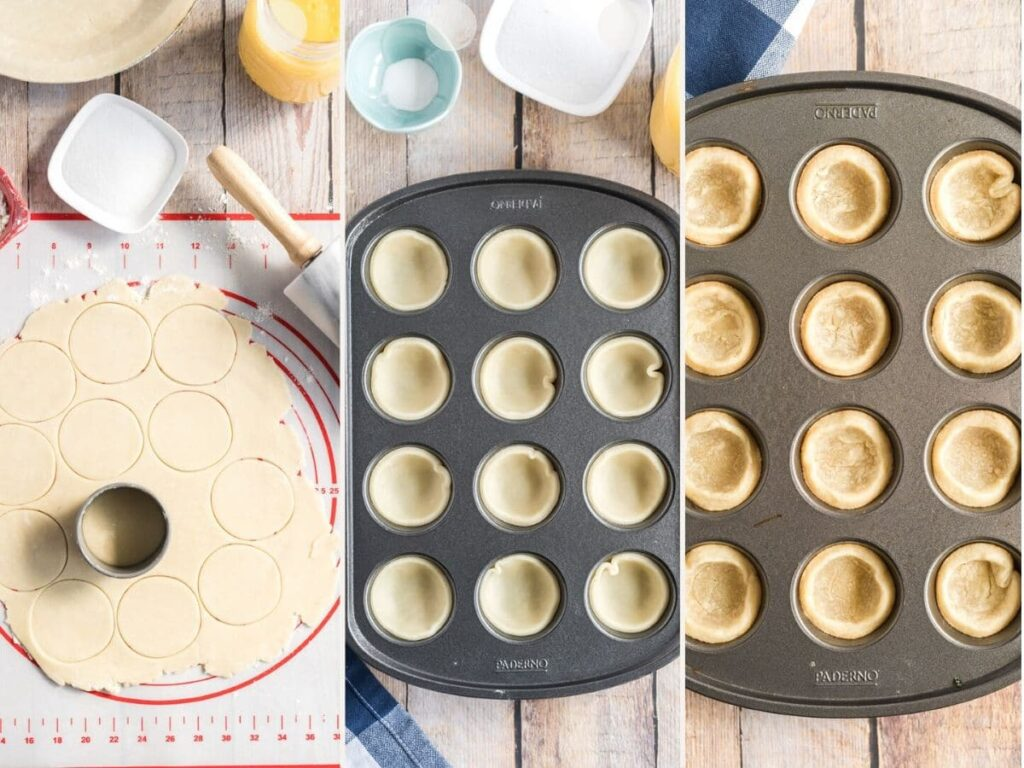 collage showing how to make lemon meringue pies