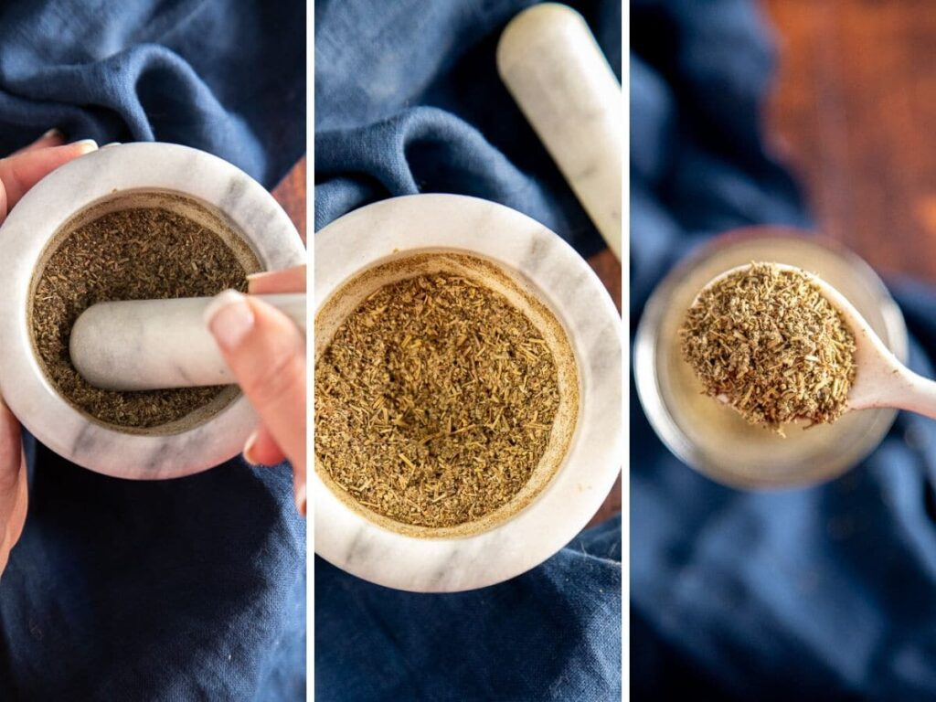 3 photos showing how to make seasoning blend