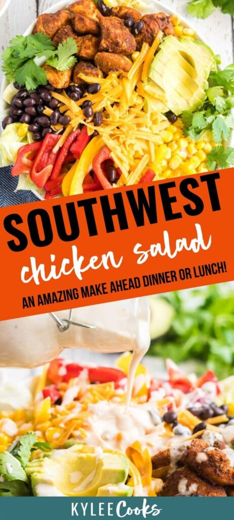 southwest chicken salad pin with text overlay