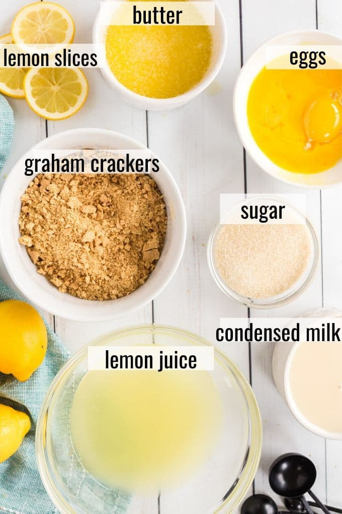 lemon pie ingredients laid out and labeled