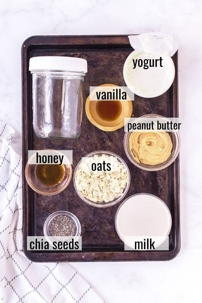 overnight oats ingredients laid out and labeled