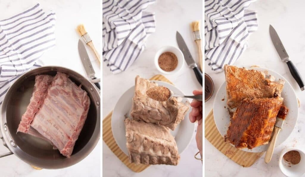 3 pic collage showing prepping ribs for the grill