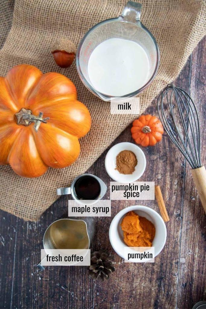 ingredients in a pumpkin spice latte