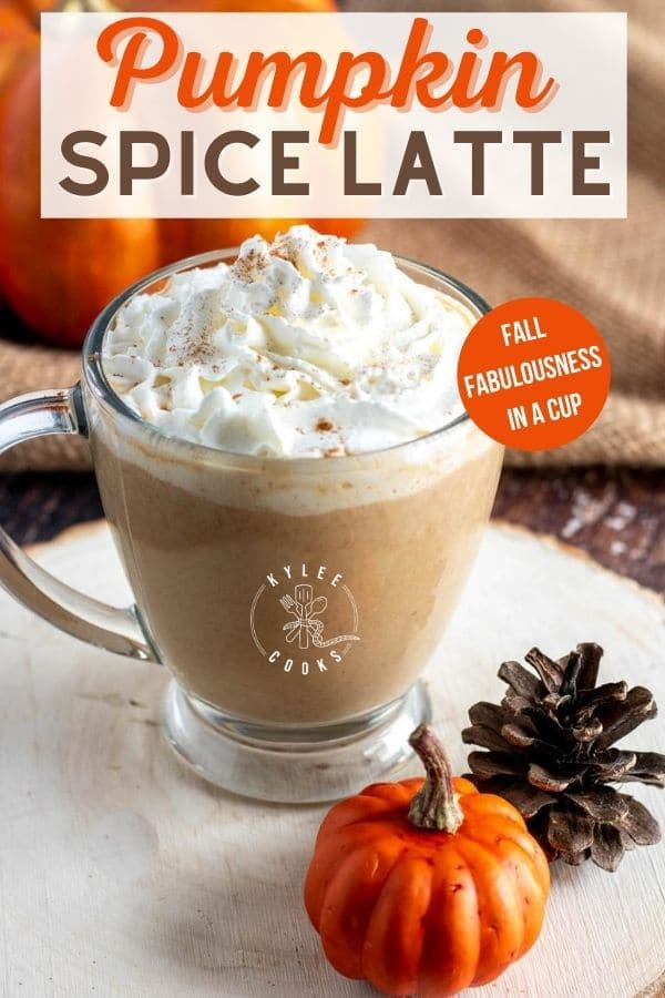 pumpkin spice latte pin with text overlay