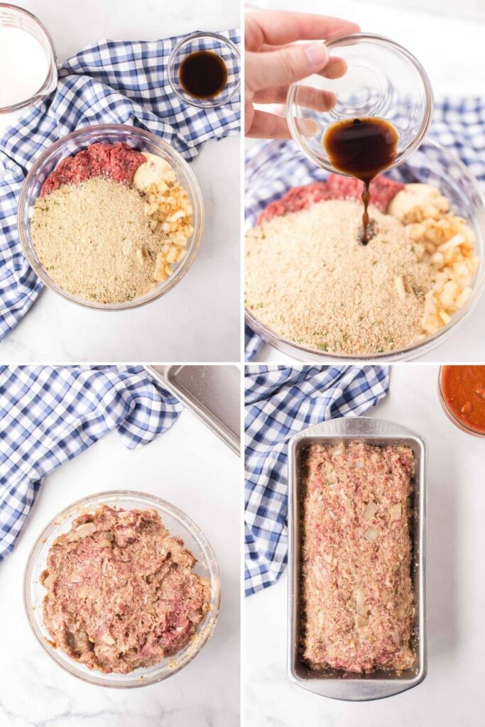 mixing meat and breadcrumbs for meatloaf