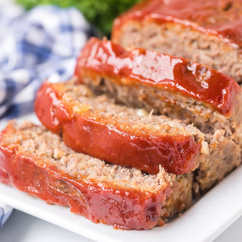 square pic of meatloaf on a plate