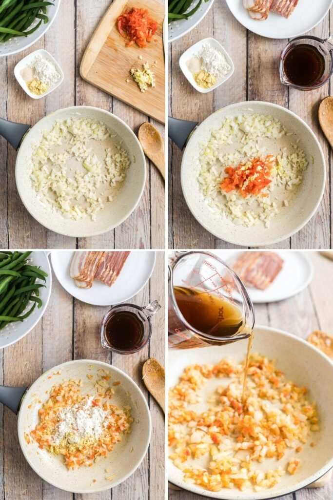 4 pictures showing how to make gravy for green beans