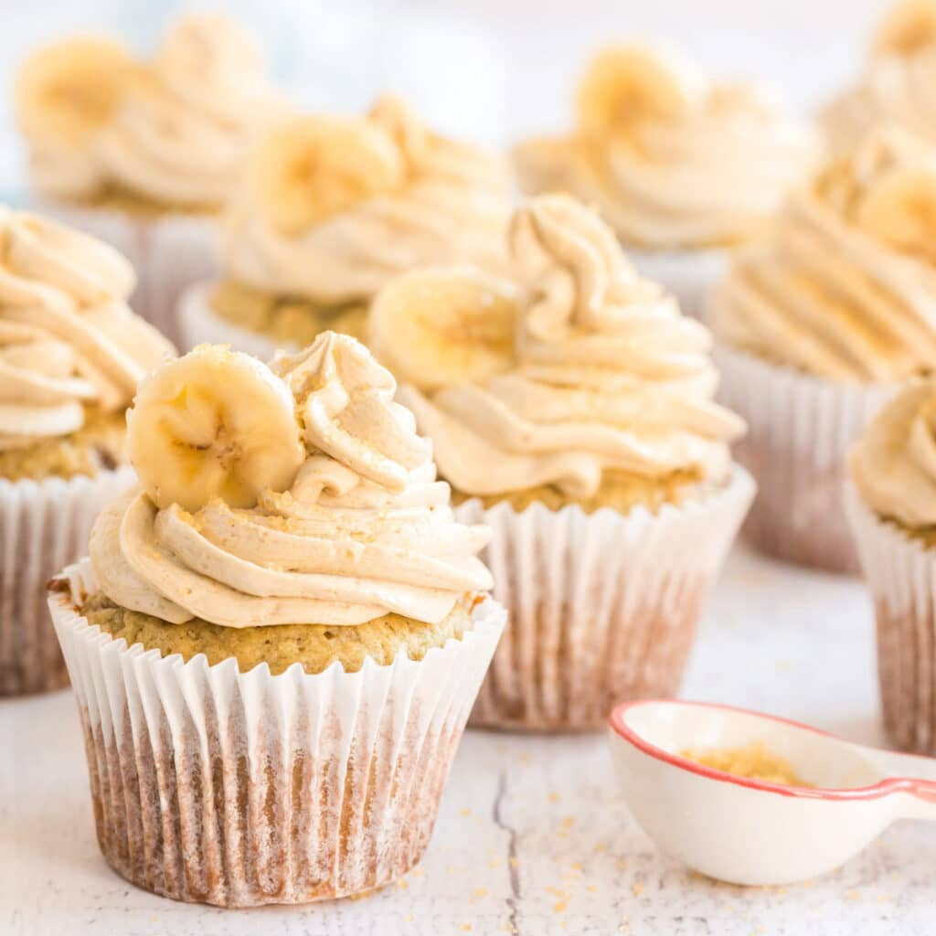 square image of banana cupcakes