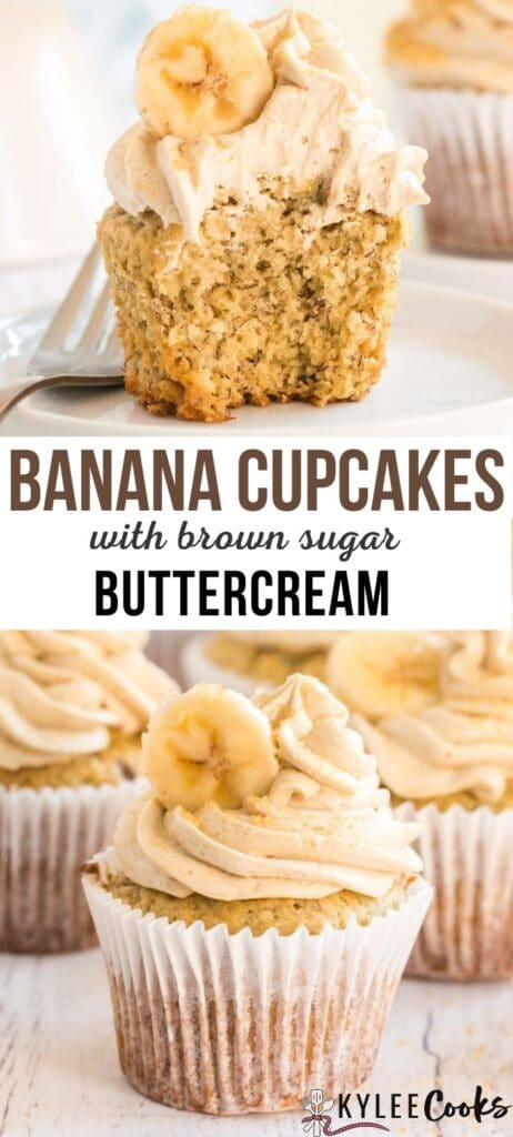 banana cupcakes pin with text overlay