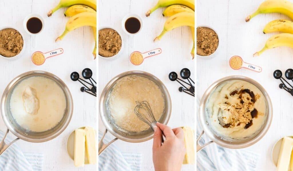 collage of steps to make banana cupcakes