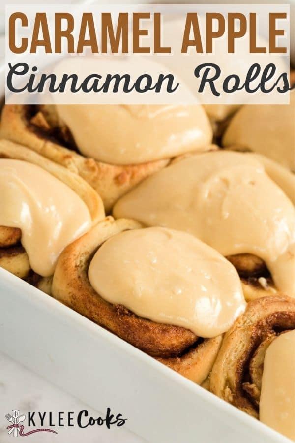 caramel apple cinnamon rolls pin with text overlay