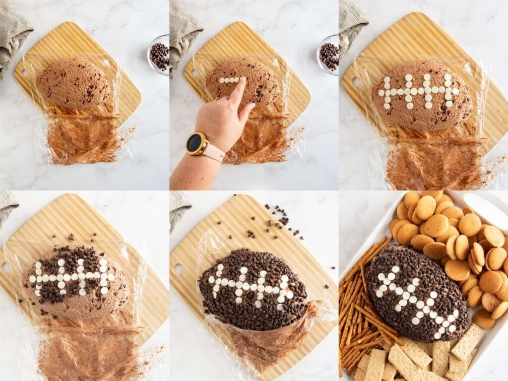 decorating a football cheese ball