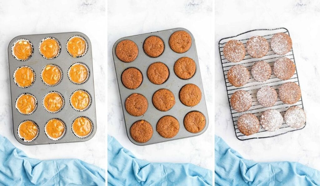 3 photos showing unbaked, baked and sugar sprinkled muffins