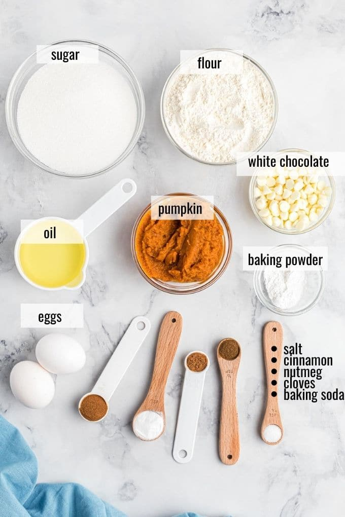 ingredients to make pumpkin muffins laid out