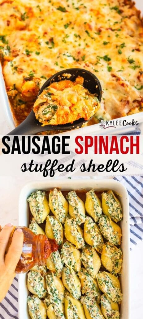 spinach stuffed shells pin with text overlay