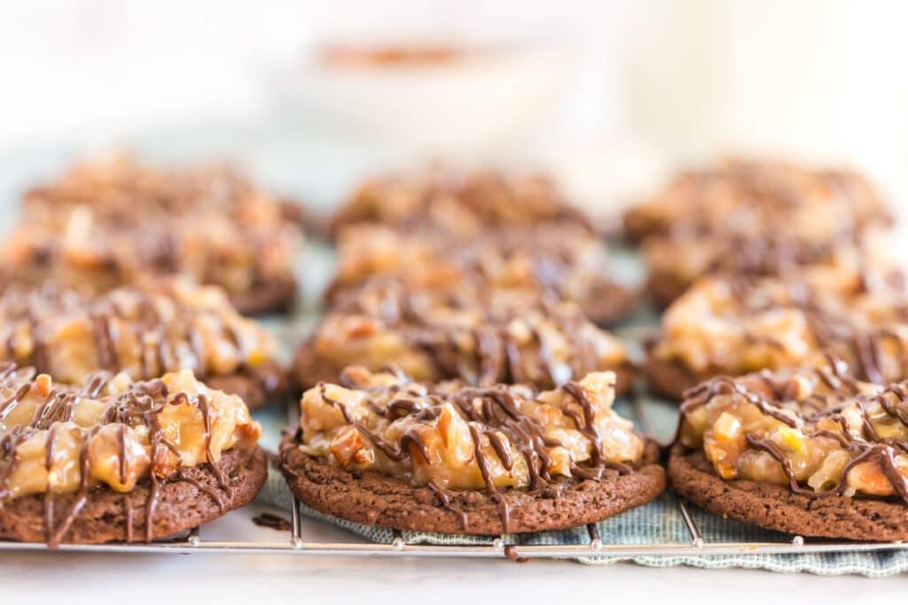 side view of german chocolate cookies