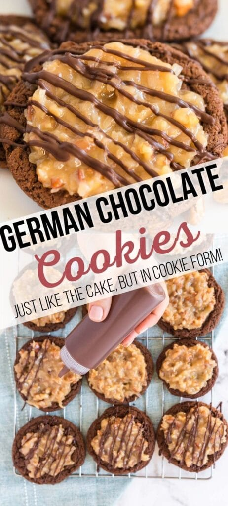 german chocolate cookies pin with text overlay