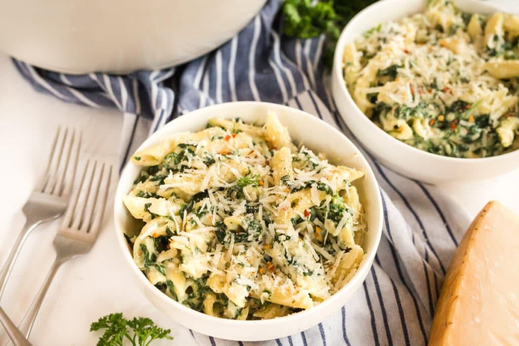 florentine pasta in white bowls