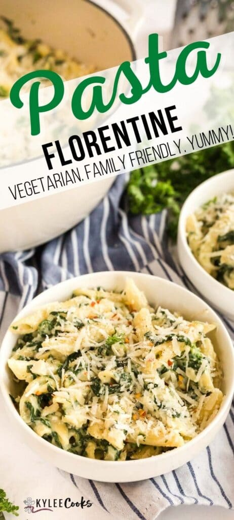 pasta florentine pin with text overlay