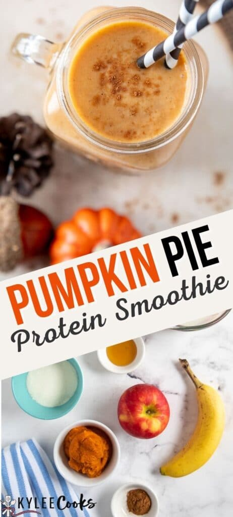 pumpkin smoothie pin with text overlay